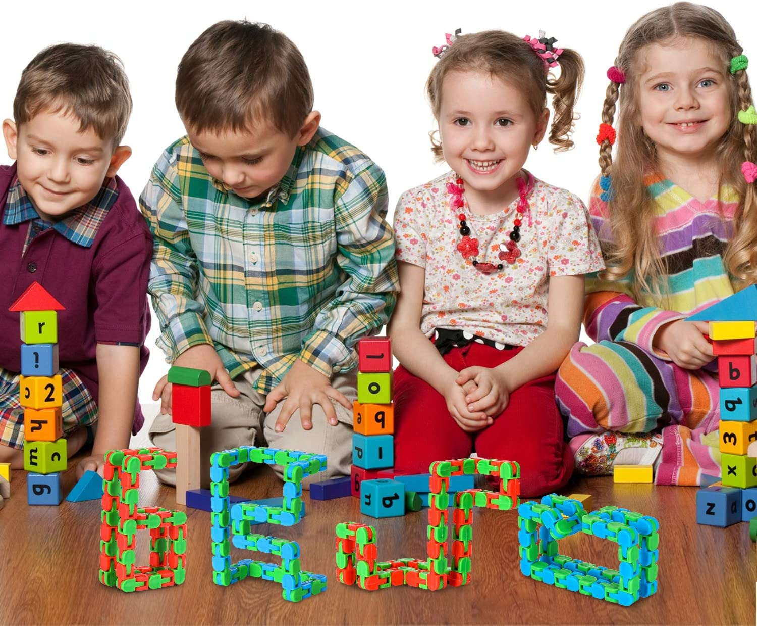 Boao 6 Pieces 22 Inches 48 Parts Wacky Tracks Snake Cube Puzzles Snap and Click Sensory Fidget Toys for Stress Relief or Party Bag Fillers Party Toys Multicolor