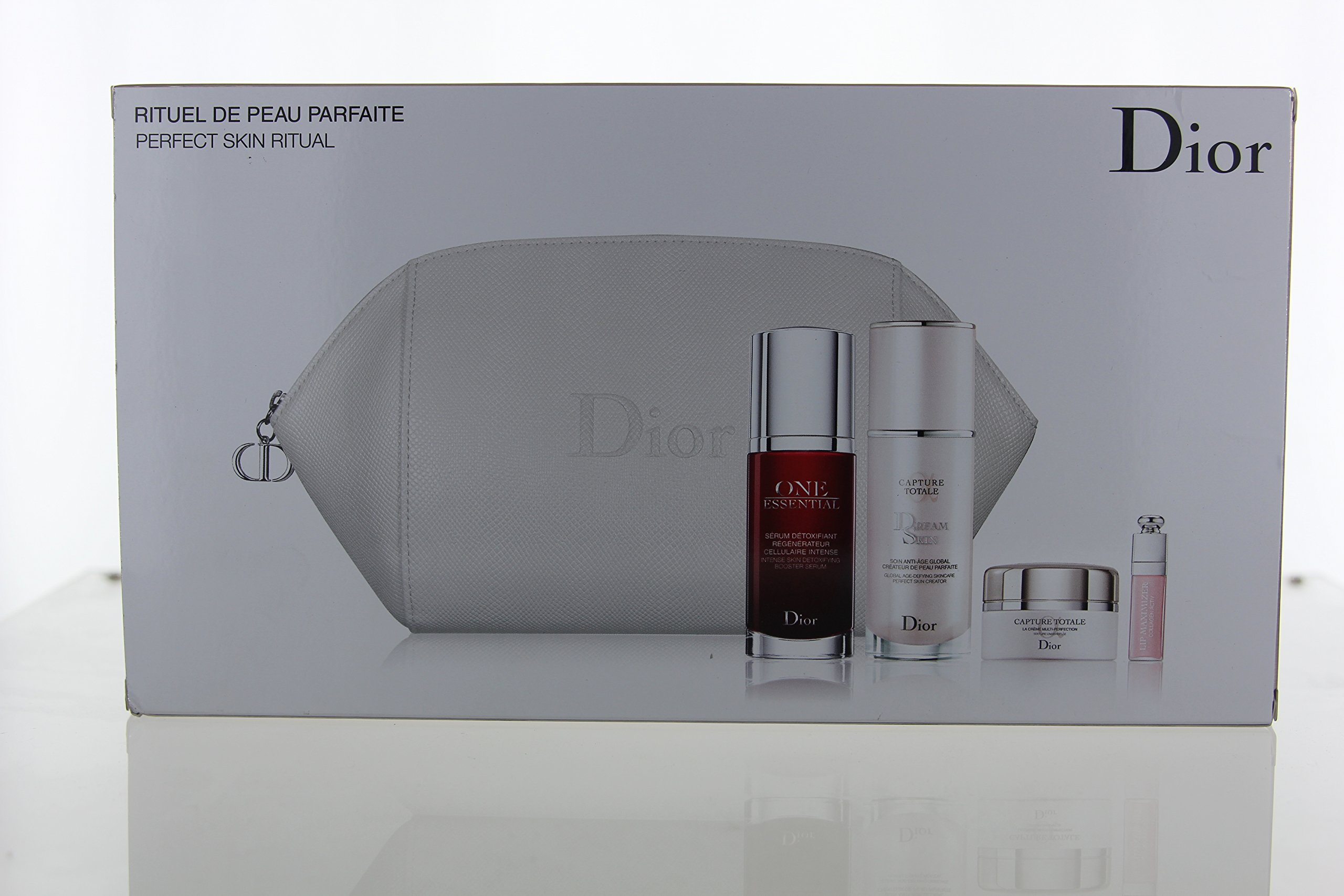 Dior Capture Totale Perfect Skin Ritual Set 5pc Set (One Essential 30ml, Capture Totale 15ml, Capture Totale Dream Skin 30ml, Dior Addict Lip Maximizer 2Ml, Dior Toiletry Bag)