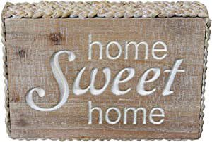 PrideCreation Sweet Home Wood Signs, 9.8x6.7 inch Carved Rustic Home Wall Hanging Sign, Small Vintage Farmhouse Box Signs for Shelf Mantel Living Dining Room Bedroom Home Sweet Home
