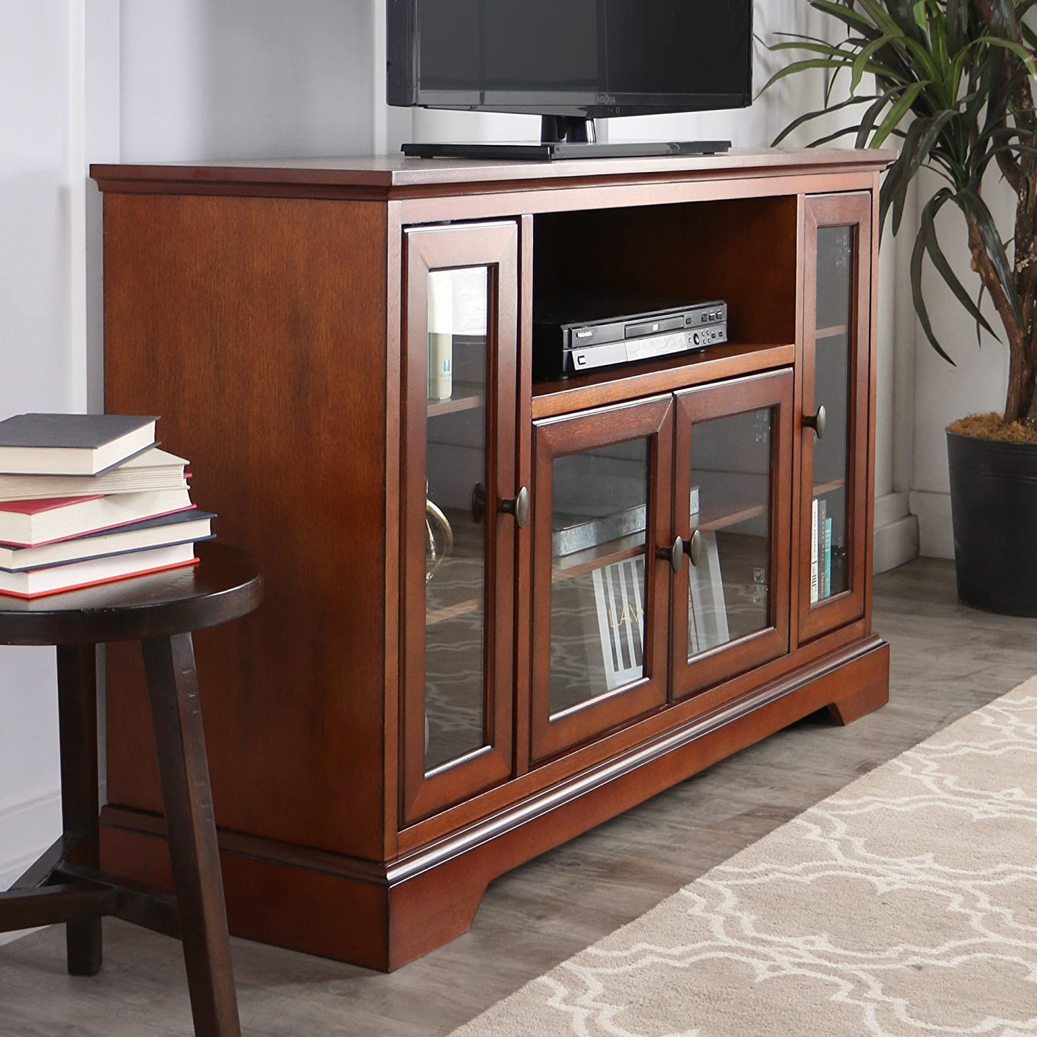 we furniture 52 wood highboy style tall tv stand rustic brown entertainment centers stands. Black Bedroom Furniture Sets. Home Design Ideas