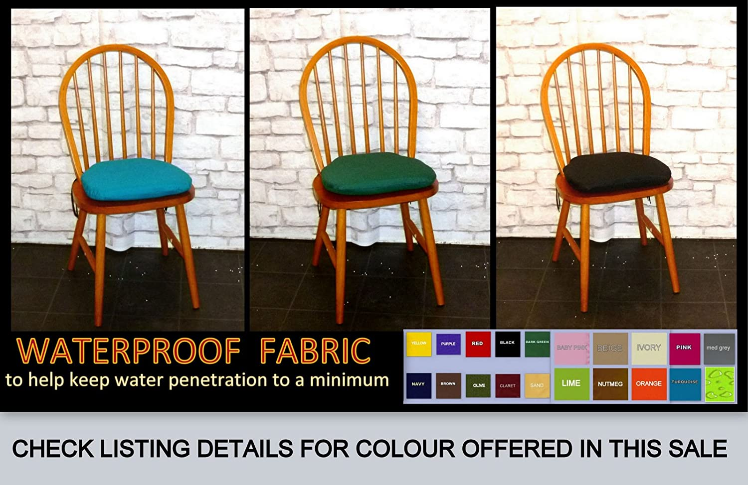 2 x YELLOW - Zippy Spindle Chair Cushions - Waterproof Fabric - Small Dining Chair Seat Pads - 38cms x 37cms - For Home & Garden Furniture Zippy UK