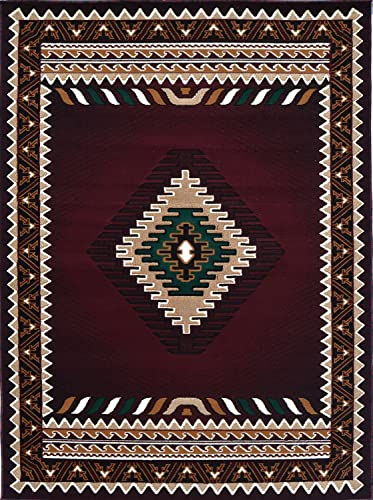 Rugs 4 Less Collection Southwest Native American Indian Area Rug in Burgundy Maroon Color 5 2 x7 2 143 Burgundy
