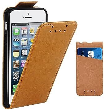 Supad iPhone 5 Hülle, iPhone 5S Hülle, Leder Tasche für Apple iPhone 5 5S SE Handyhülle Flip Case Schutzhülle (Braun)