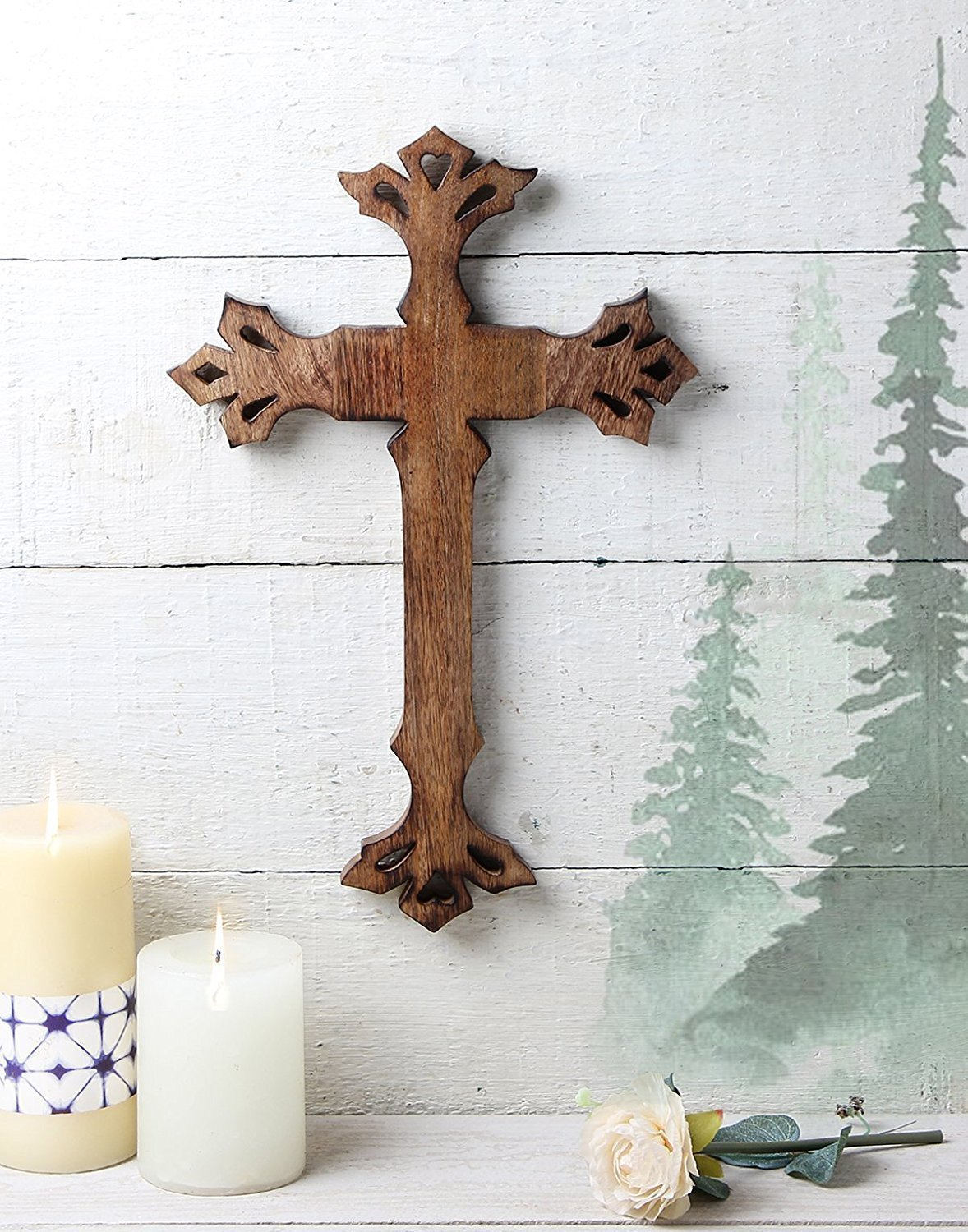 Christmas Gifts- Wooden Cross Wall Hanging With Handcrafted Antique Design in Walnut Finish Religious Altar for Home Décor Living Room Décor Accessory (Size: 40 x 33 cms) storeindya