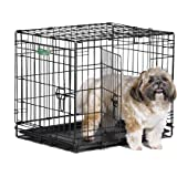 "Midwest iCrate Folding Metal Dog Crates; Single Door & Double Door Dog Crates w/ Divider Panel, Floor Protecting ""Roller Feet"" & Leak-Proof Plastic Pan"