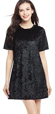 La Vogue Women Velvet A-line Dress Short Sleeve Jumper Mini Dress Black UK 14