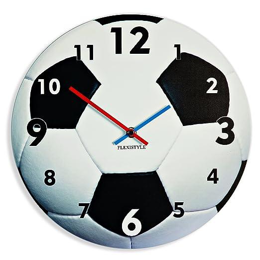 FLEXISTYLE Reloj de Pared para niños con diseño de balón de fútbol ...