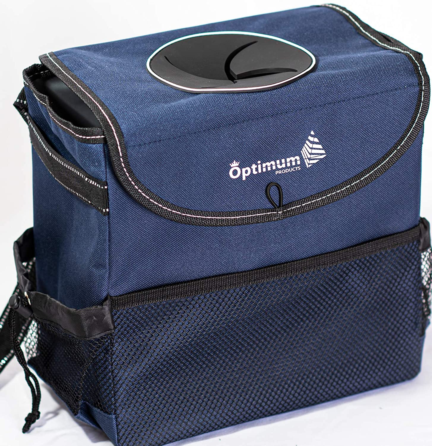 Trash Bags for Car by Optimum Products Luxury Dark Blue For Men Women and Kids Waterproof Collapsible Console Bigger Design Pockets Cup holder Hanging Bags with Lids Hang it on Headrest