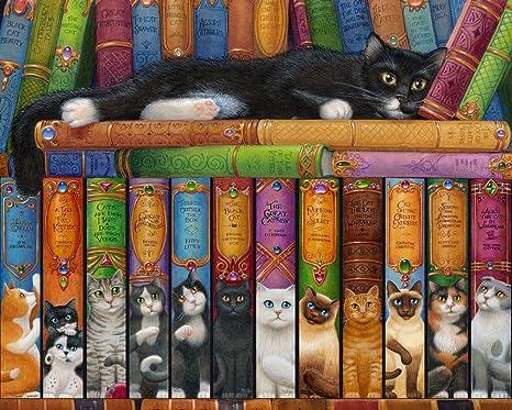 Vermont Christmas Company Cat Bookshelf Jigsaw Puzzle 1000 Piece