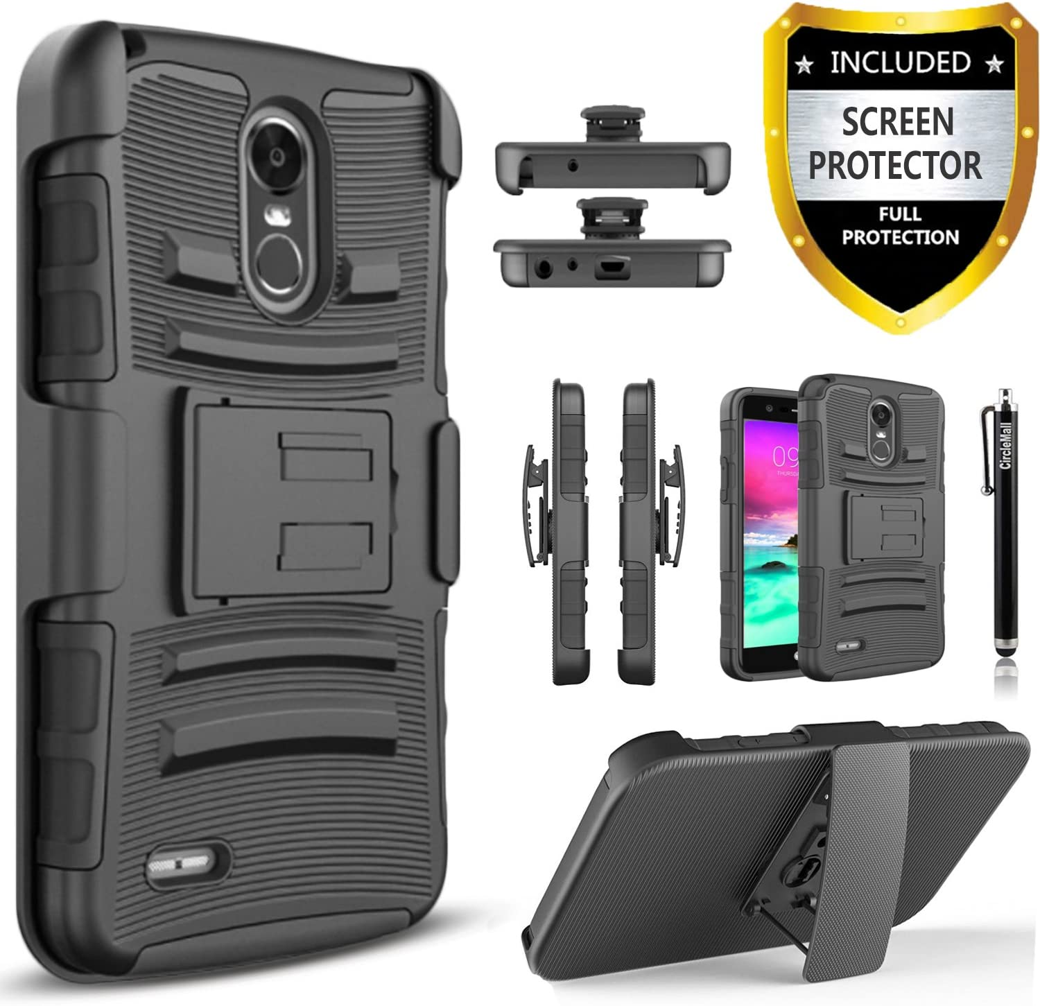LG Stylo 3 Case, LG Stylo 3 Plus Case, Dual Layers [Combo Holster] Case And Built-In Kickstand Bundled with [ Premium Screen Protector] Hybird Shockproof And Circlemalls Stylus Pen [Black]