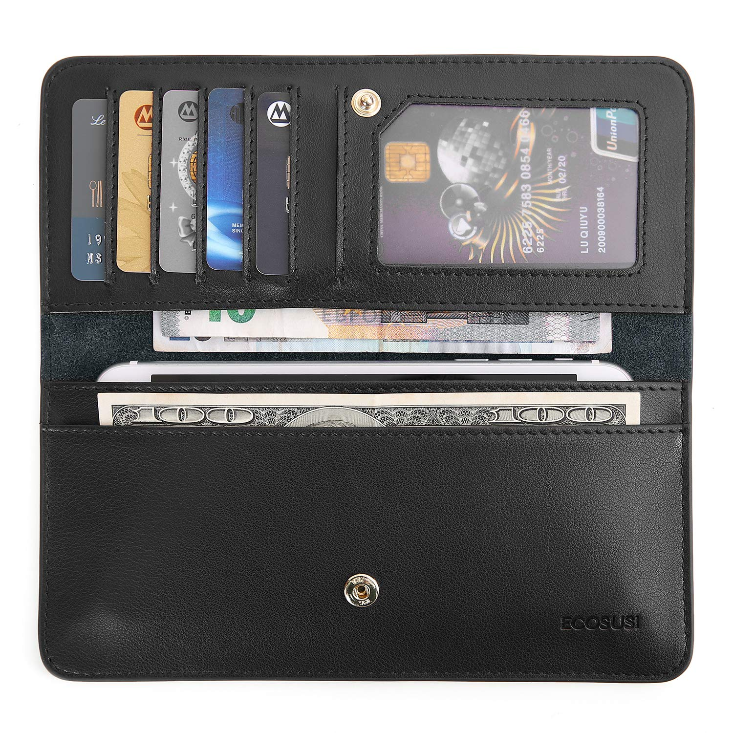 0db97abbca30 ECOSUSI Thin Wallet Long Bifold Leather Purse Minimalist Clutch Card Holder  for Women and Men
