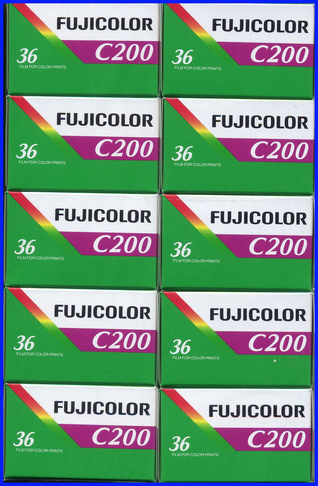 10 Rolls Fujifilm Fujicolor C200 200 ISO 36 exp 35mm Color Negative Film (Pack of 10) by Fujifilm
