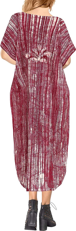 LA LEELA Boho Cotton Women Hand Batik Tunic Caftan Kimono Oversized Long Maxi Loungewear Holiday Nightwear Everyday Beach Cover UP Plus Size Kaftan JP