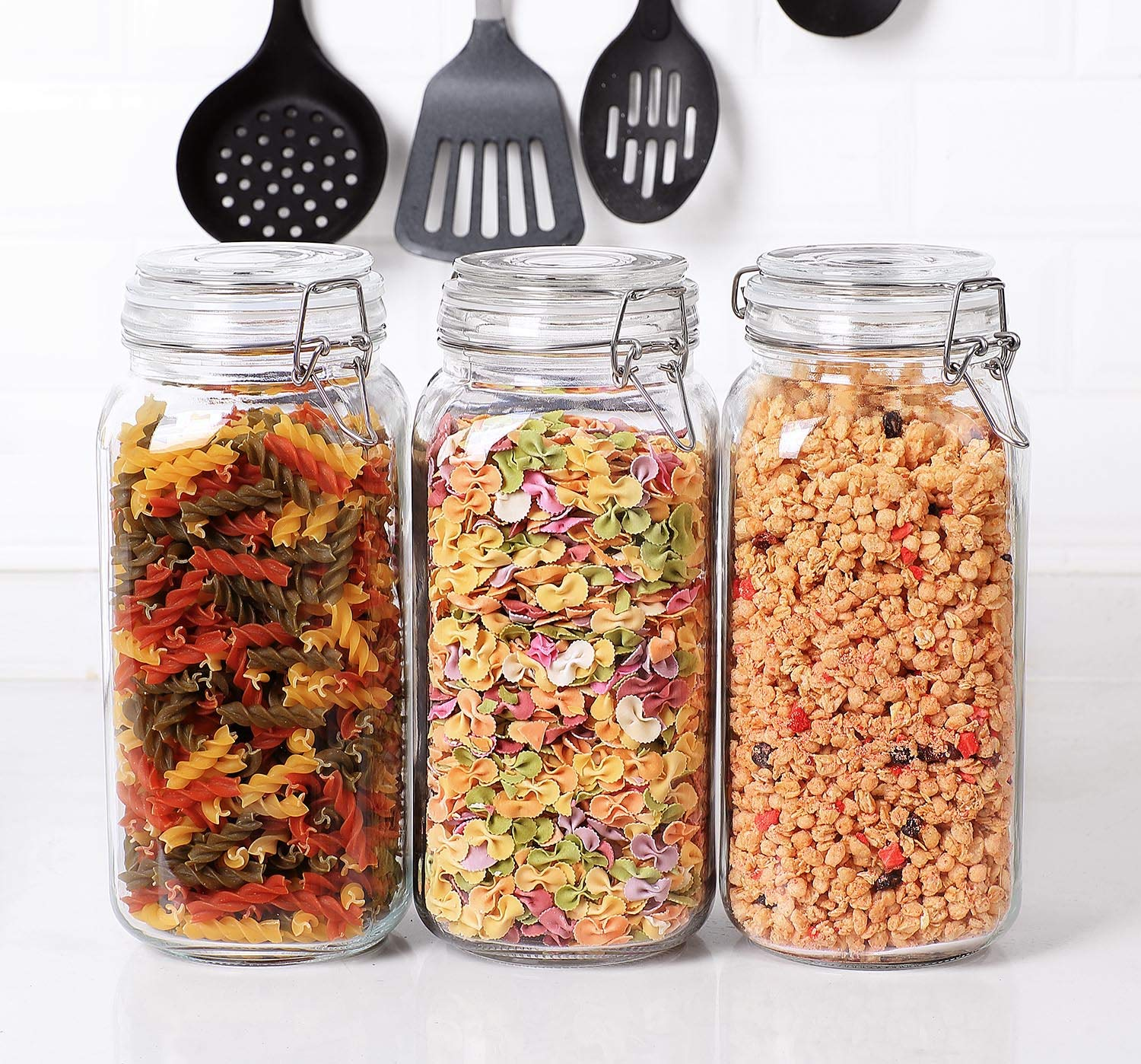 ComSaf Airtight Glass Canister Set of 3 with Lids 78oz Food Storage Jar Square  Storage Container