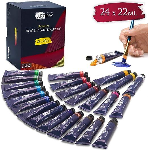 Artina Set de Colores acrílicos Crylic 24x22 ml - Set de Pintura ...