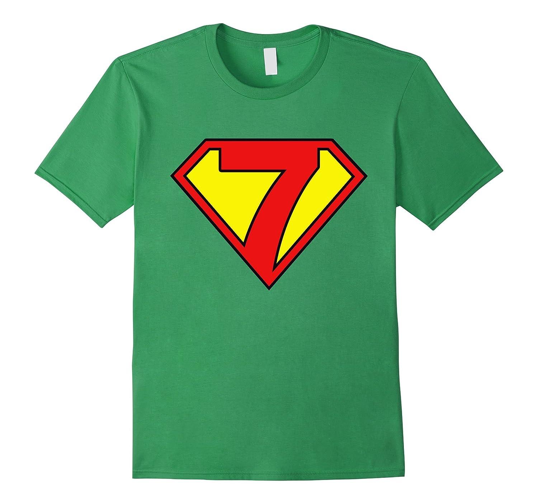 Super Hero 7th Birthday Tshirt Gift 7 Years Old Kid Boy Girl TH