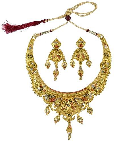 576030ecf25cc Banithani 2 Pcs 18k Gold Plated Necklace Set Bollywood Traditional ...