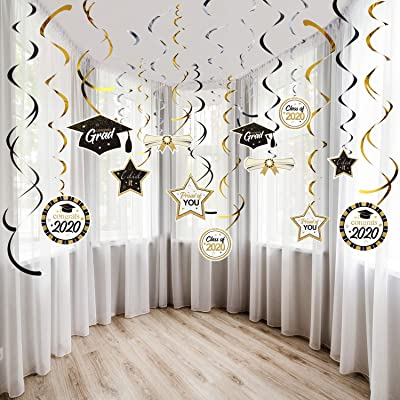 Graduation Party Decorations Kit Hanging Swirls Ornament Foil Swirls Party Ceiling Decorations 2020 Graduation Theme Party Decor for Graduation Hanging Decorations Grad Party Supplies: Toys & Games