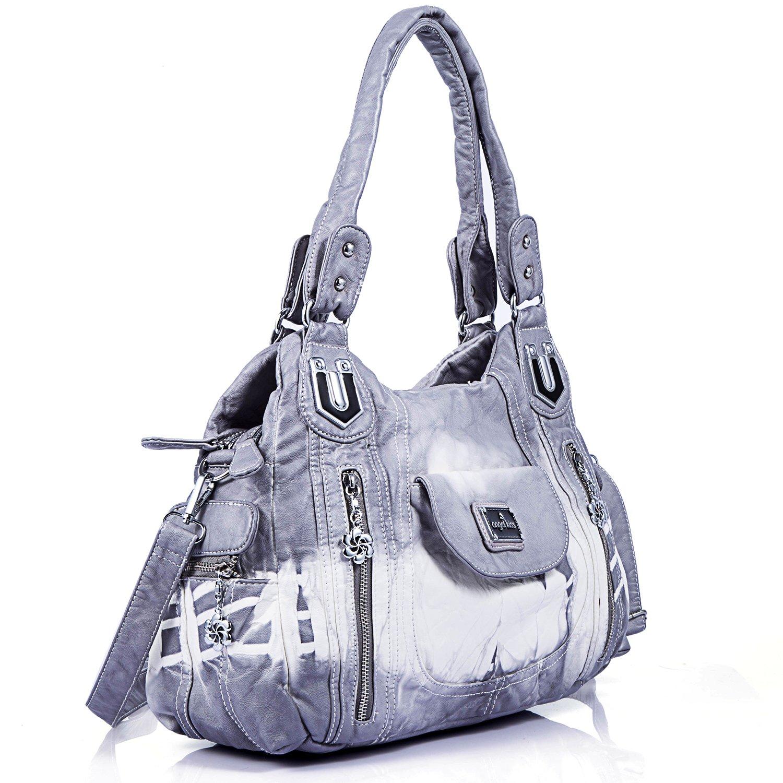 Handbag Hobo Women Handbag Roomy Multiple Pockets Street ladies' Shoulder Bag Fashion PU Tote Satchel Bag for Women (AK812-2Z Grey) by Angel Kiss (Image #2)