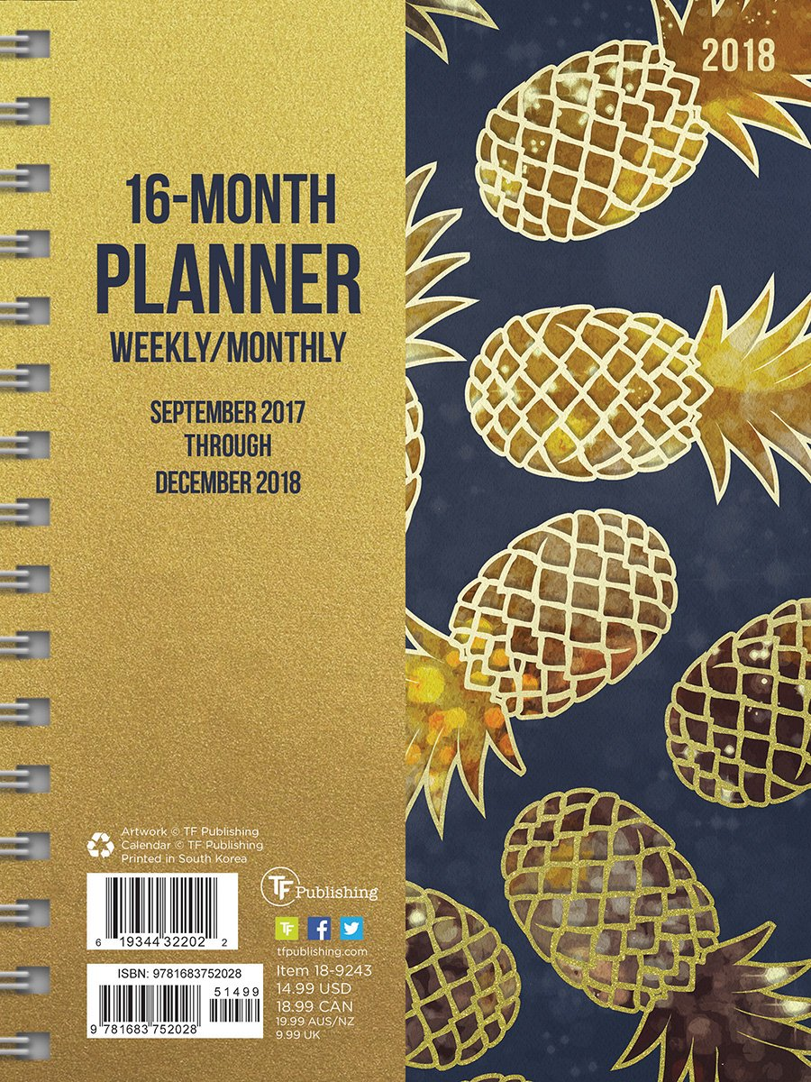 2018 Pineapples Daily Weekly Monthly Planner, 16 Month ...