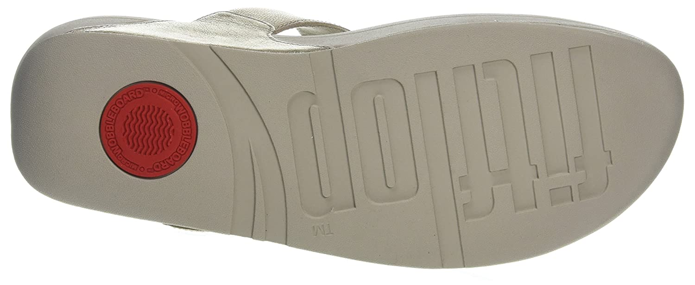 Fitflop Skinny Toe-Thong Sandals-Leather, Sandali Sandali Sandali Punta Aperta Donna Argento (Silver 11) 0a4906