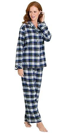 PajamaGram Women's Tartan Plaid Boyfriend Pajamas with Button-Up ...