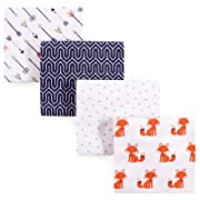 Hudson Baby Flannel 4 Piece Receiving Blanket, Foxes, One Size