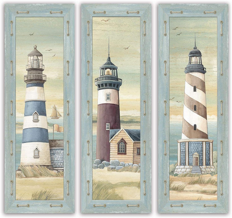 Set of 3 Lighthouse Art Prints Beach Country Coastal Décor- Three 6x18 Wood Mounted Prints