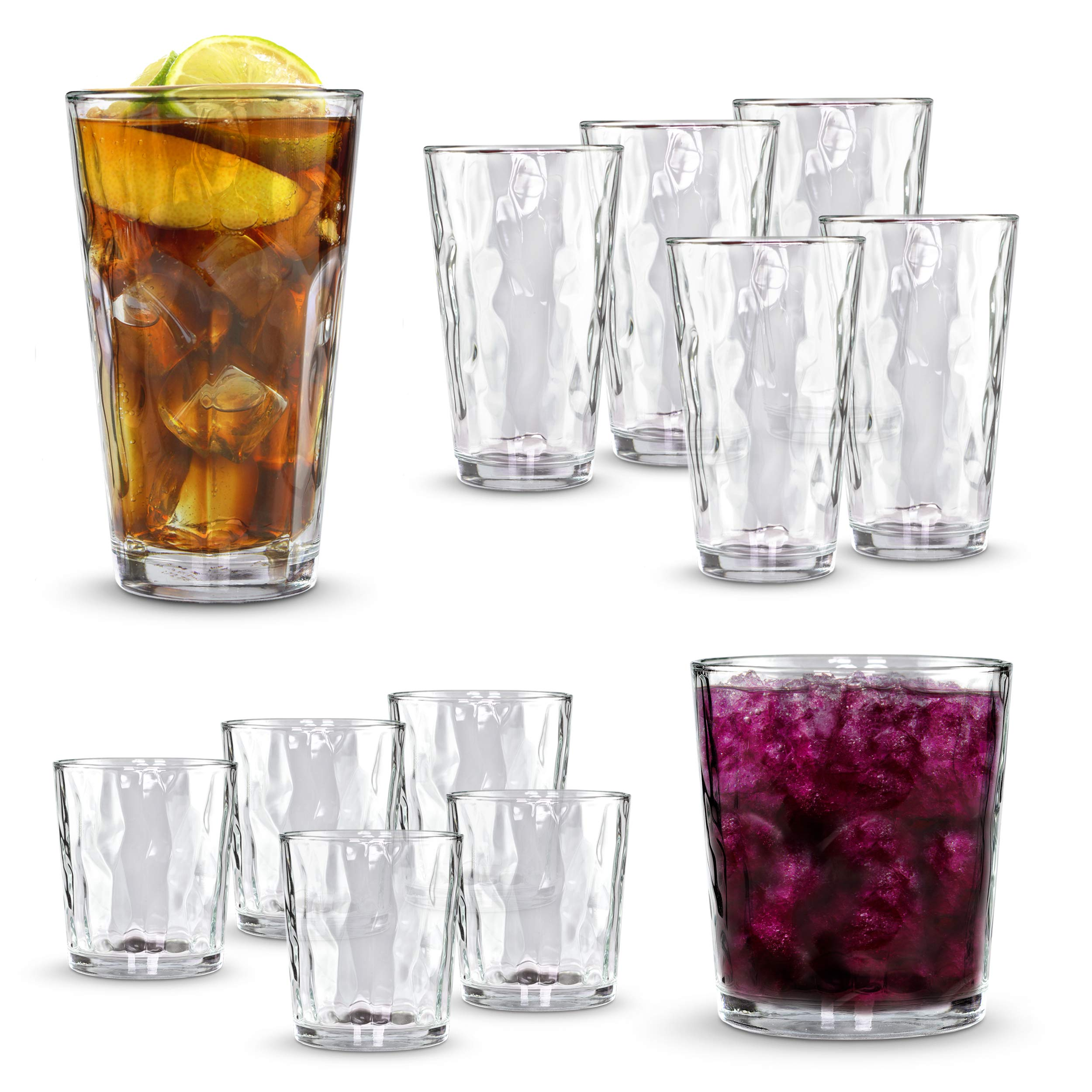 Clear Drinking Glass 12-pc Set - 6 Heavy Based Highball and 6 Double Old Fashioned Glassware for Whiskey, Scotch, Juice - Ideal for Dinner, Parties, and Special Events
