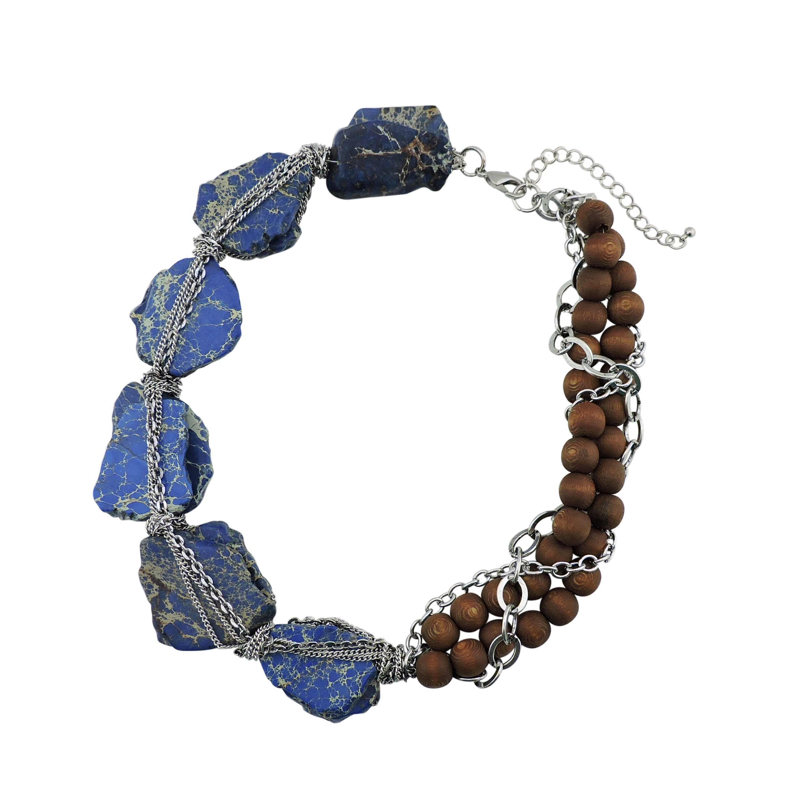 BOCAR Personalized Big Statement Turquoise Chunky Collar Chain Necklace for Women Gifts (NK-10271-baja blue)