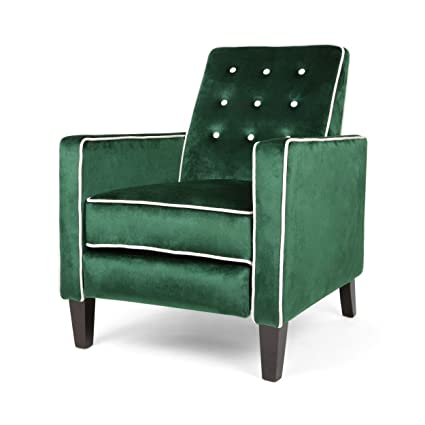 Admirable Vanessa Pushback Recliner Modern Glam Velvet With Contrast Piping Emerald And White Gmtry Best Dining Table And Chair Ideas Images Gmtryco