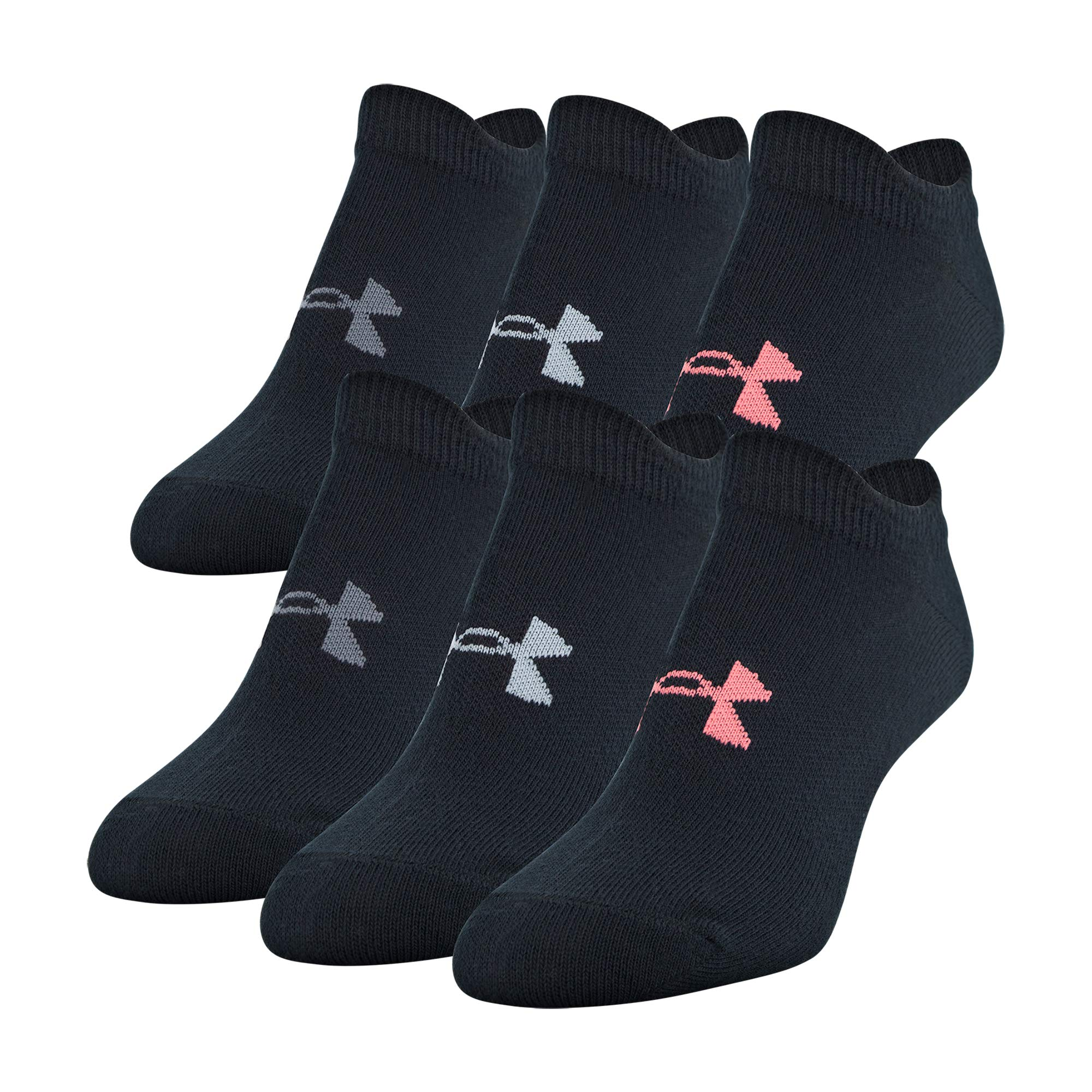 Under Armour Women's Essential 2.0 No Show Socks, 6-Pair, Black Assorted, Medium by Under Armour