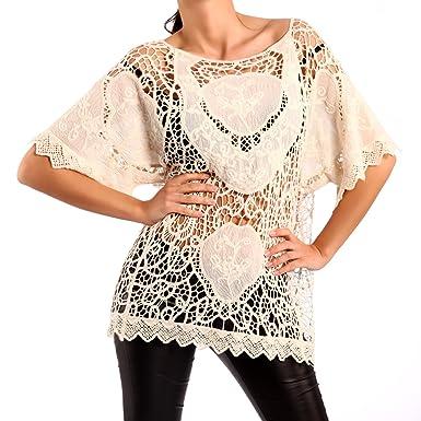 Young-Fashion Damen Häkel Shirt Häkel Top Lochmuster: Amazon.de ...