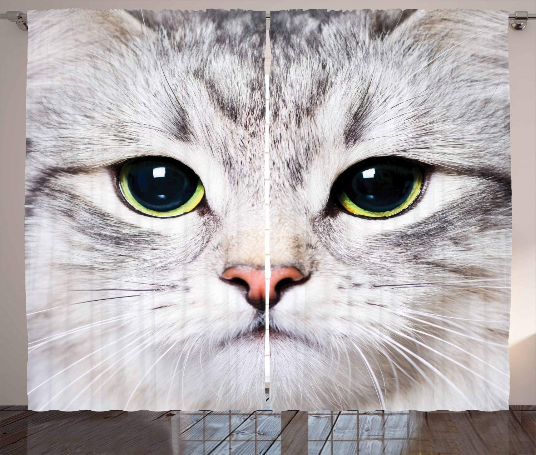 Ambesonne Animal Curtains, Cat Print Kitten Kitty Face Closeup Portrait Digital Photography Domestic Feline, Living Room Bedroom Window Drapes 2 Panel Set, 108
