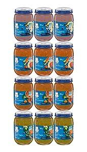 Gerber 3rd Foods Jar Variety Pack - 3 Jars of Banana Blueberry Rice Pudding, 3 Jars of Pasta Marinara, 3 Jars of Pasta Primavera, 3 Jars of Garden Veggies & Rice - 6 OZ Jars (12 CT)