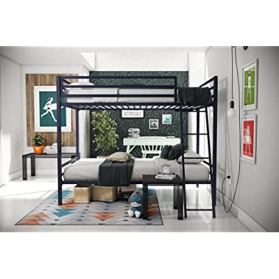 Novogratz Maxwell Twin/Twin Metal Bunk Bed, Sturdy Metal Frame with Ladder and Safety Rails, Navy Blue: Kitchen & Dining
