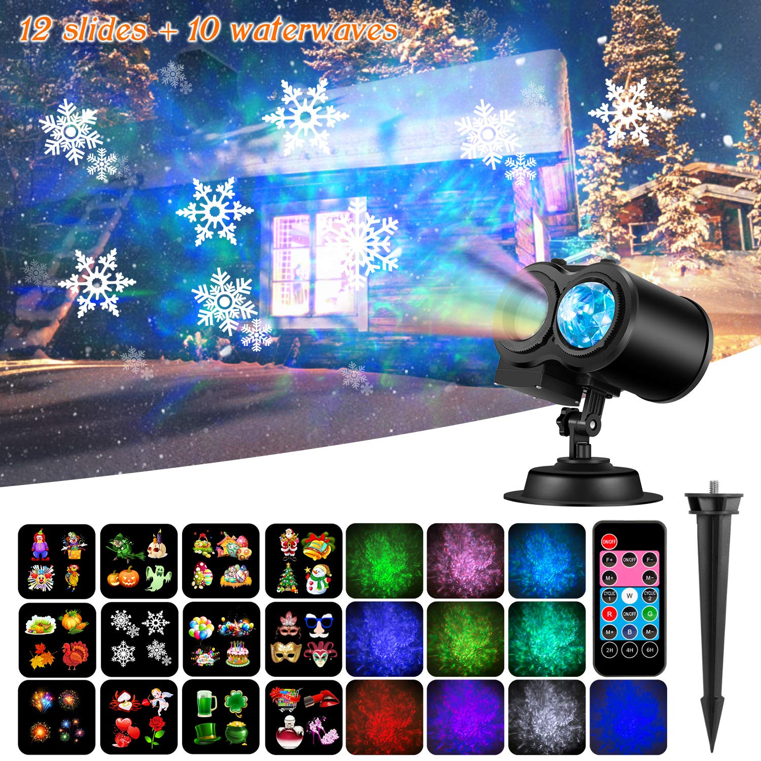 NEXGADGET Christmas Projector Light,2 in 1 Water Wave Light Projector with 12 Slides,Holiday Decoration Light for Party,Birthday,Remote Control Waterproof Outdoor/Indoor