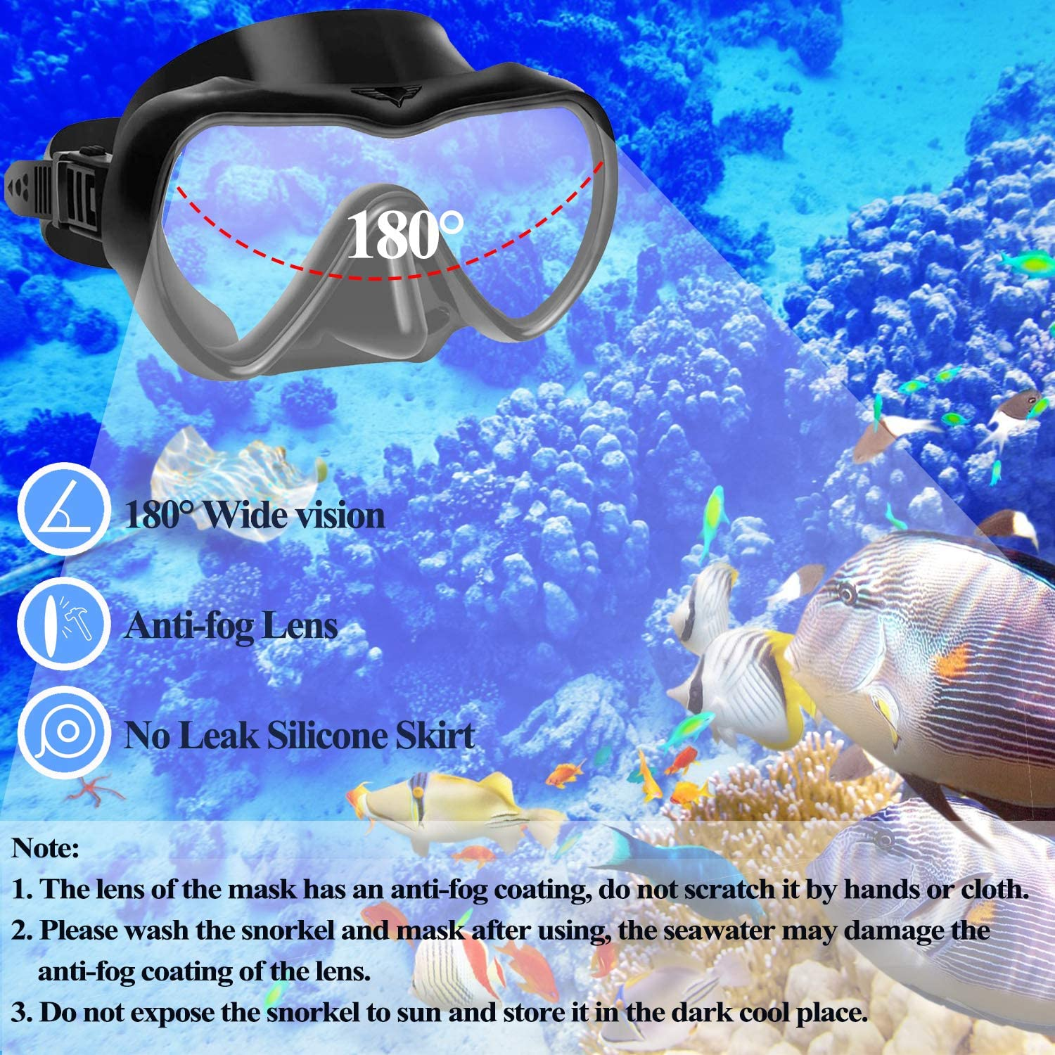 Scuba Diving Swimming Training Equipment Youth Junior Men Womens QTECLOR Snorkel Mask Set Snorkeling Gear Dry Snorkel Set and Mask Kids Adults Anti Fog 180 Degree Seaview with Mesh Bag