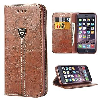 Funda iPhone 6,iDoer iPhone 6S Funda con tapa libro piel y TPU cartera cover Funda de cuero carcasa bumper protectores estuches soporte flip Case para ...