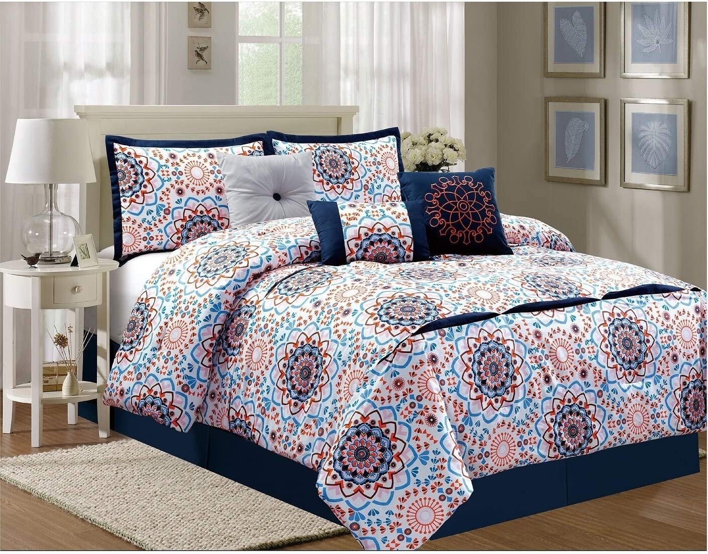 Elight Home 21158q 7 Piece Sunshine Luxury Comforter Set Queen Amazon Ca Home Kitchen