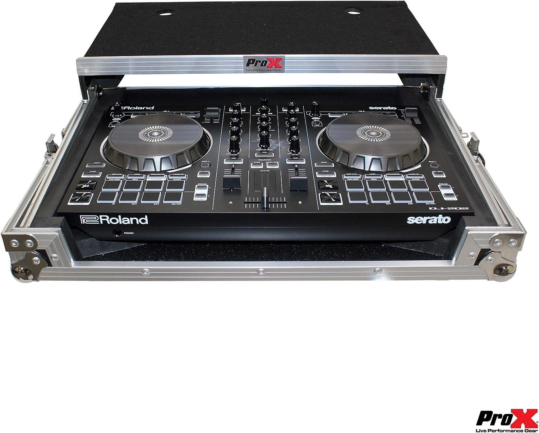 Silver on Black Design ProX X-DJ202 LT Flight Case For Roland DJ-202 Digital Controller With Laptop Shelf
