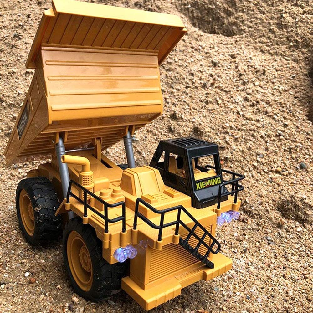 WZNING 1:16 RC Truck Bulldozer Dumper Caterpillar Tractor Model Engineering Car Excavator Push Soil Music Lighting Effects Kids Toys B