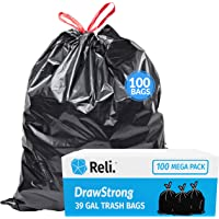 Reli. 39 Gallon Trash Bags Drawstring (100 Count) Large 39 Gallon Heavy Duty Drawstring Trash Bags - Black Garbage Bags…