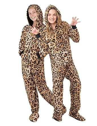 Amazon.com  Footed Pajamas - Cheetah Spots Kids Hoodie Chenille ... 5c978edc8