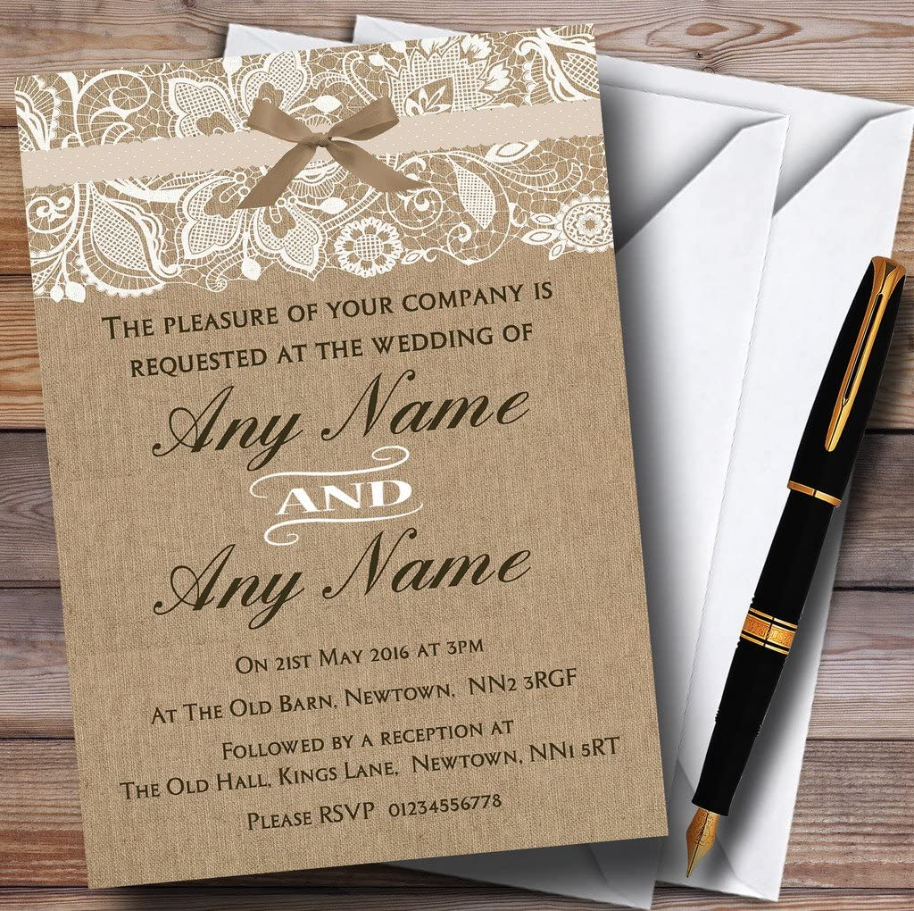 Amazon.com : Vintage Burlap & Lace Personalized Wedding Invitations :  Office Products