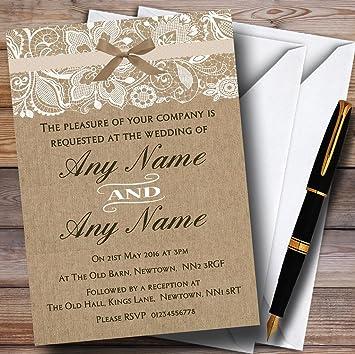 Vintage burlap and lace wedding invitations