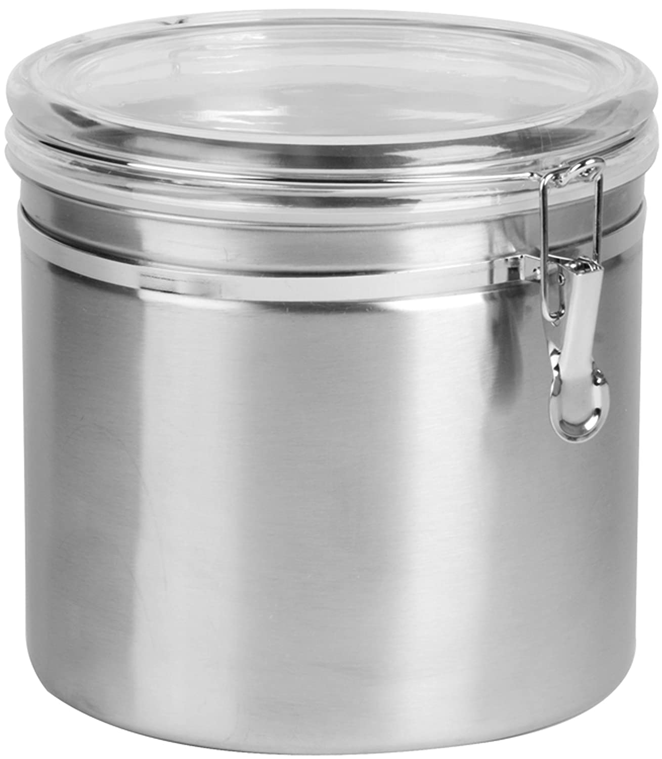 amazon com anchor hocking round stainless steel airtight canister amazon com anchor hocking round stainless steel airtight canister with clear acrylic lid and locking clamp 165 oz set of 2 food savers kitchen