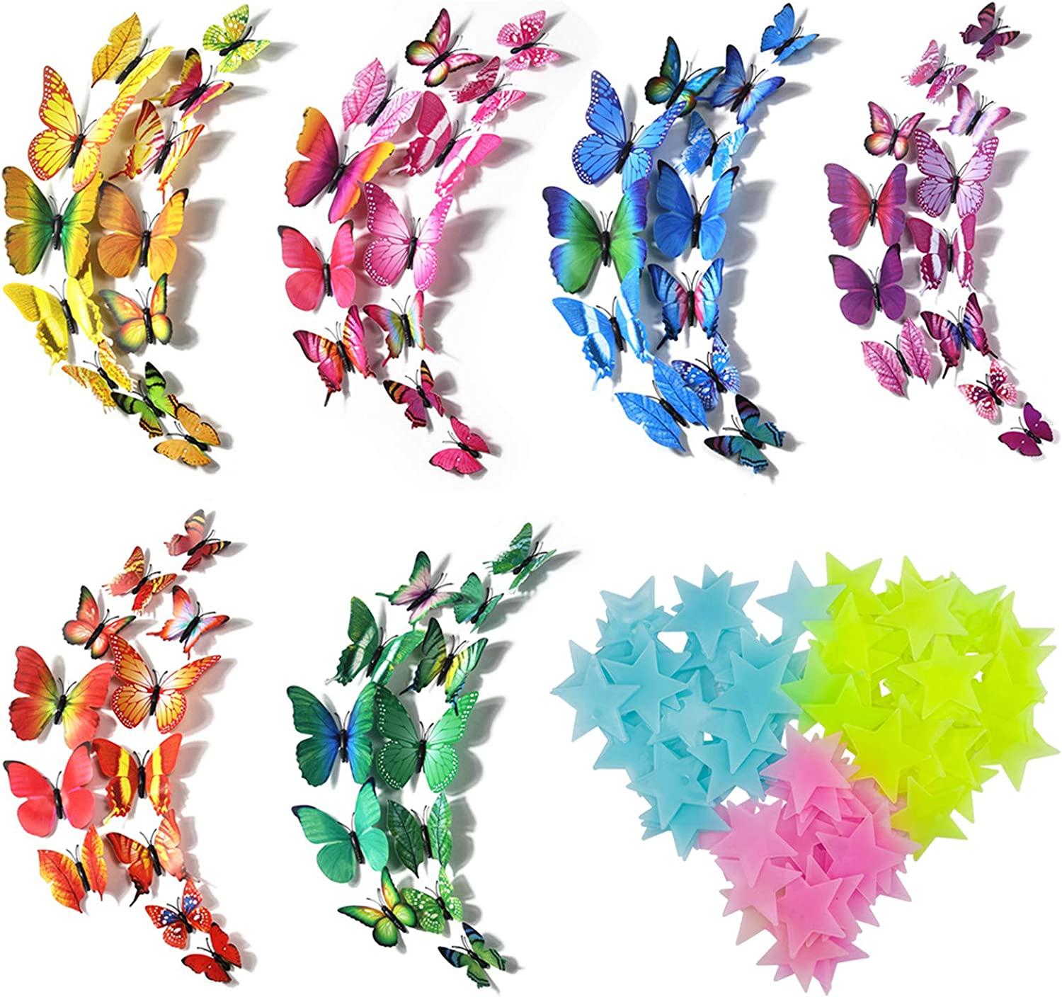 3D Butterfly Wall Decor 72 Pcs Colorful Butterfly Wall Stickers +100 Pcs Glow in The Dark Luminous Stars, Wall Stickers Removable Mural Decals Home Decoration Kids Room Bedroom Decor