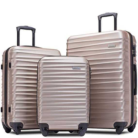 "Merax Afuture Luggage Set Hardside Lightweight Spinner Suitcase 20"" 24"" 28"" (Champagne Gold) best luggage set"