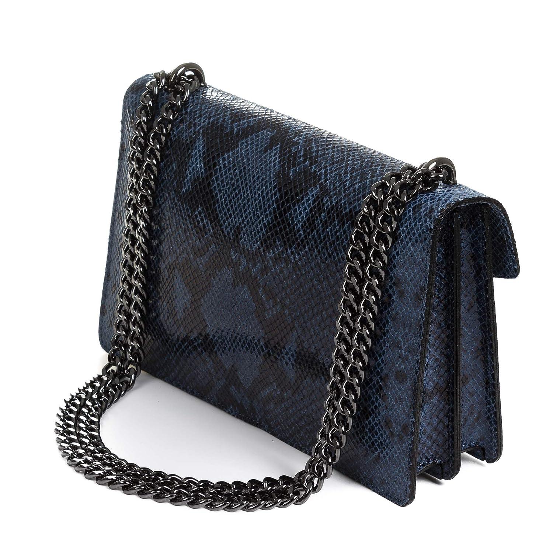 Color: Azul FIRENZE ARTEGIANI Made in Italy Vera Pelle Italiana.27,5x8x17,5 cm Rainelda Bolso Bandolera Mujer.Piel aut/éntica Gamuza Pit/ón